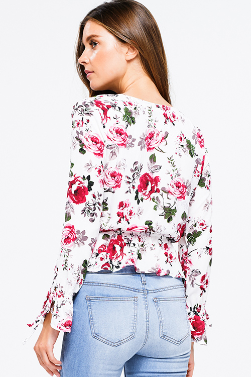 Cute cheap White floral print long sleeve surplice tie front ruffle hem boho blouse top