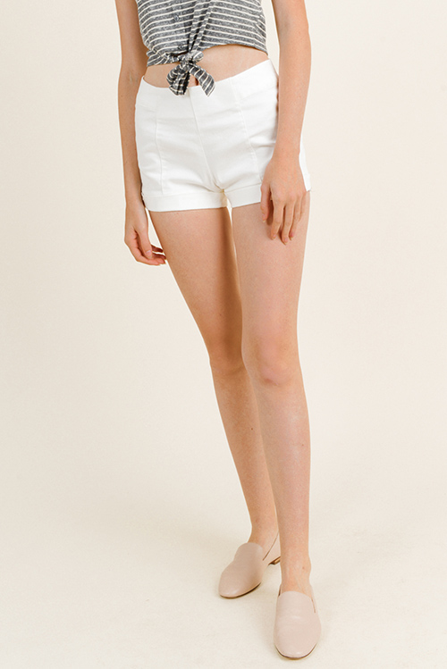 Cute cheap White high waisted cuffed hem back pockets zip up boho sailor shorts