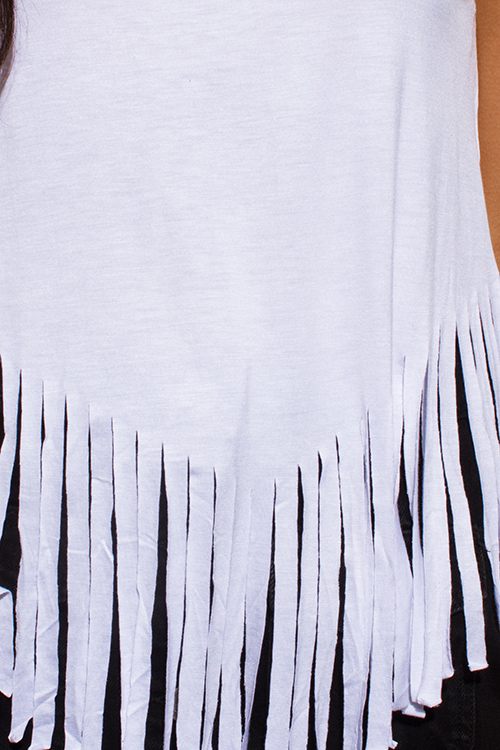 Cute cheap white jersey knit sleeveless fringe asymmetrical hem boho tank top