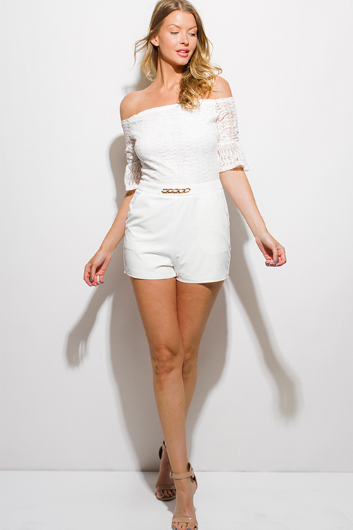 Cute cheap white lace off shoulder embellished bell sleeve pocketed club romper jumpsuit