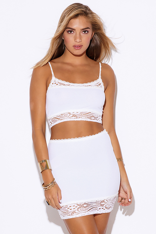Cute cheap white lace trim fitted bodycon clubbing two piece set dress