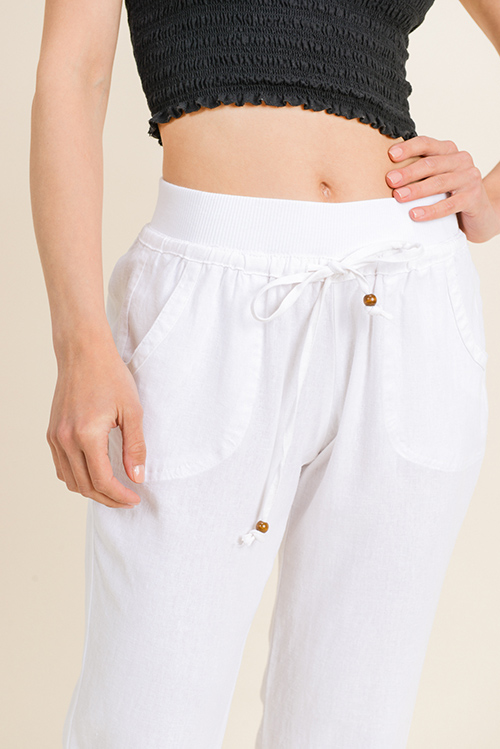 Cute cheap White linen banded waist pocketed wide leg pocketed culotte boho summer resort pants