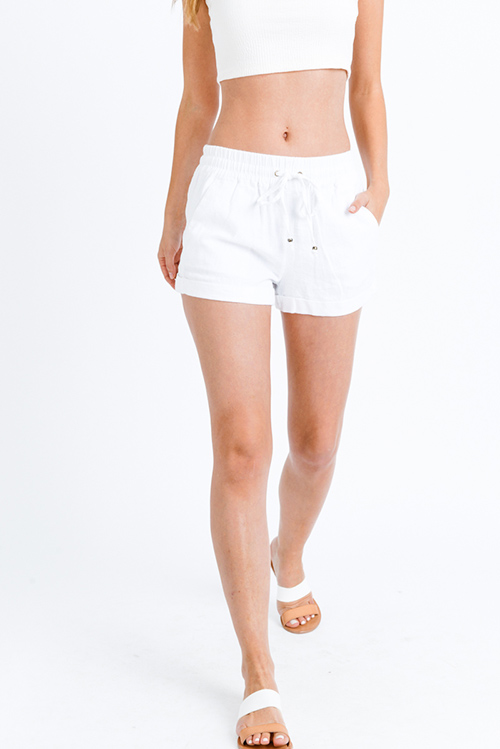 Cute cheap White linen mid rise tie waist pocketed boho lounge shorts