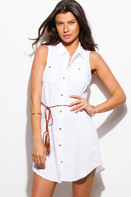 Cute cheap white linen sleeveless button up belted mini shirt dress