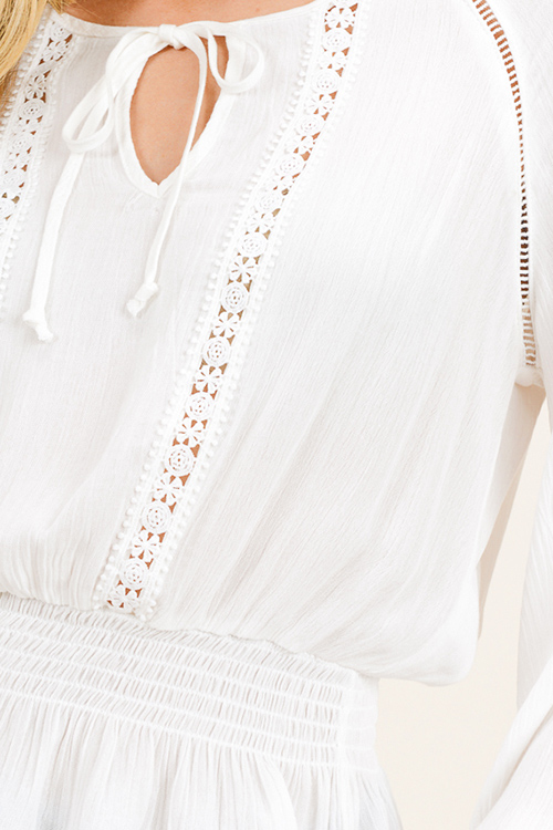 Cute cheap White long sleeve crochet lace applique smocked ruffle hem boho peasant blouse top