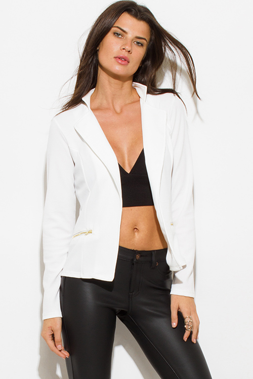 Cute cheap white long sleeve open front zipper pocket fitted blazer jacket