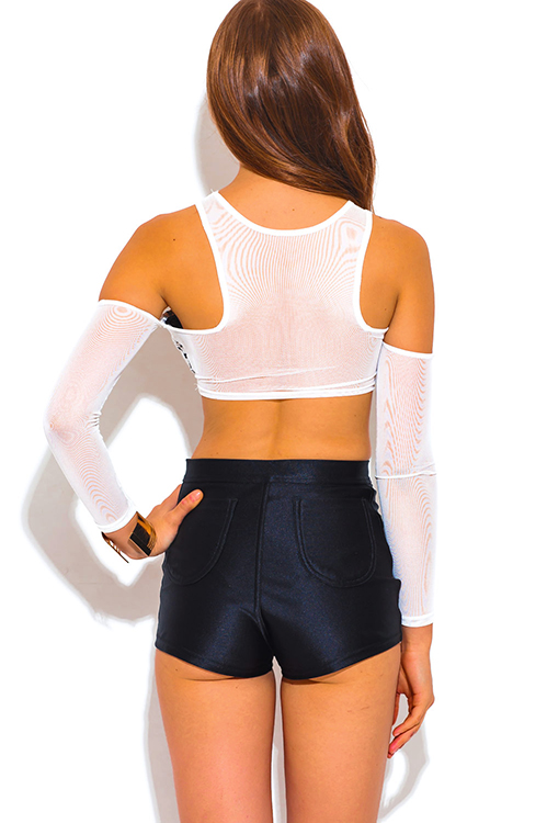 Cute cheap white mesh houndstooth print cut out cold shoulder long sleeve clubbing crop top