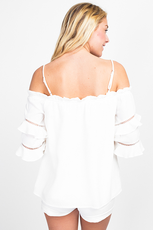 Cute cheap White off shoulder ruffle tiered quarter sleeve boho blouse top