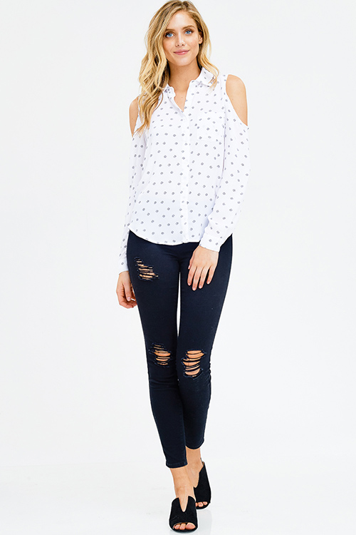 Cute cheap white print cold shoulder long sleeve button up blouse top