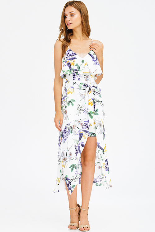 Cute cheap white purple multicolor floral print ruffle tiered slit boho maxi sun dress
