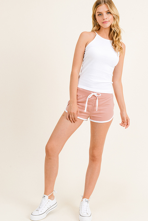 Cute cheap White ribbed halter racer back fitted cami tank top