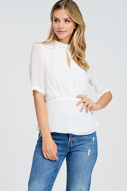 Cute cheap White semi sheer chiffon keyhole mock neck half sleeve button up peplum blouse top