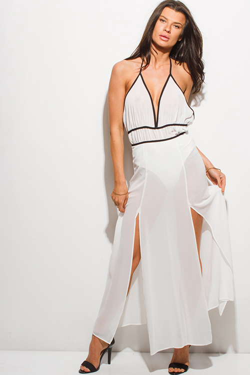 Cute cheap white sheer chiffon halter bodysuit double high slit backless evening maxi dress