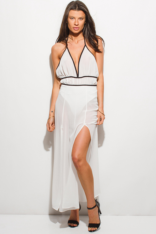 Shop White Sheer Chiffon Halter Bodysuit Double High Slit