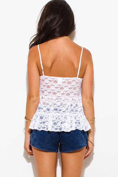 Cute cheap white sheer crochet lace tiered spaghetti strap beach cover up party tank top