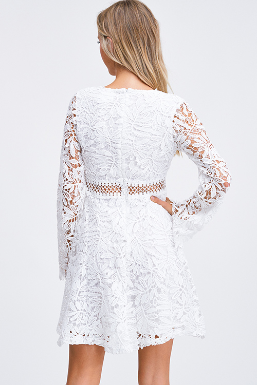 Cute cheap White sheer crochet lace v neck long bell sleeve a line fit and flare boho party mini dress