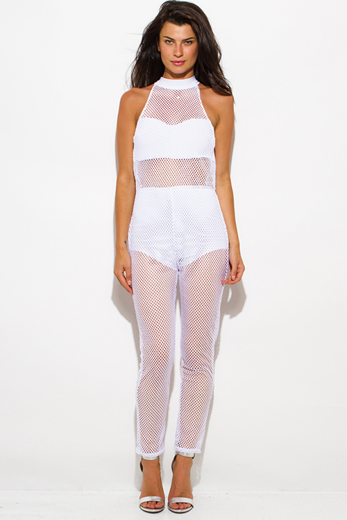 Cute cheap white sheer fishnet mesh fitted high halter neck racer back bodycon catsuit jumpsuit