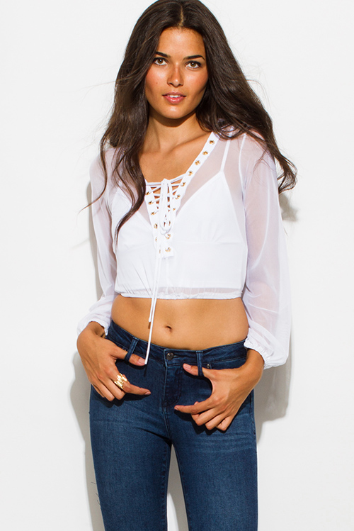 Cute cheap white sheer mesh long sleeve laceup embellished eyelet trim party crop top