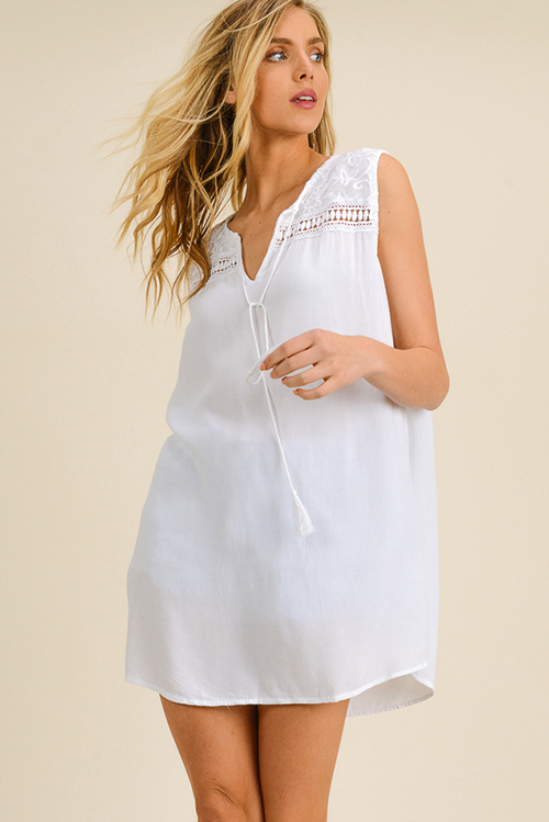 Cute cheap White sleeveless crochet lace trim boho shift peasant mini dress