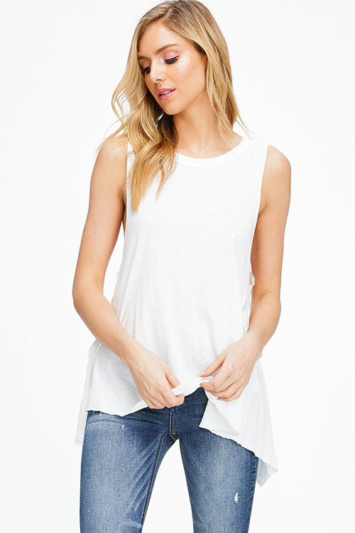 Cute cheap White sleeveless round neck surplice back vent boho tank top