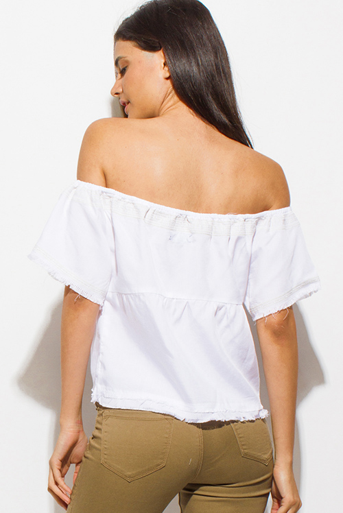 Cute cheap white tencel embroidered off shoulder short sleeve frayed hem boho crop top