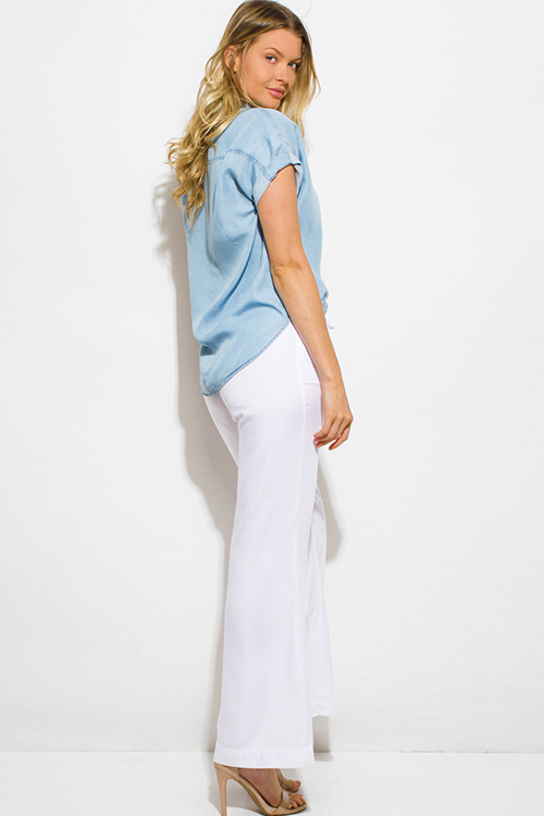 Cute cheap white tencel pocketed waist tie wide leg boho resort palazzo pants