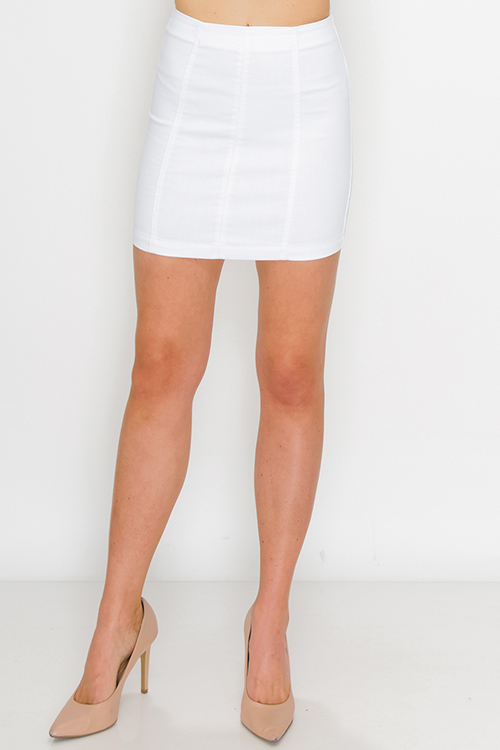 Cute cheap White twill denim high waisted zip up fitted mini skirt
