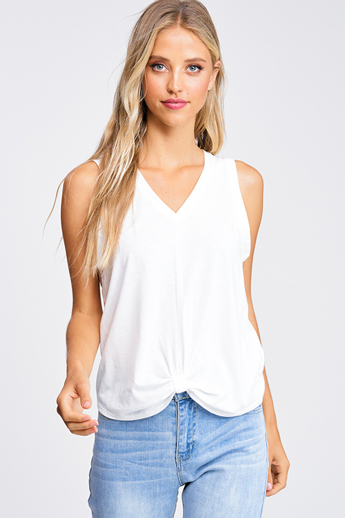 Cute cheap White v neck gathered knot front boho sleeveless tank top