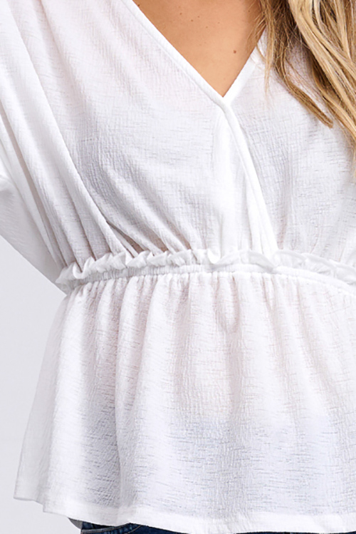 Cute cheap White v neck surplice short kimono sleeve empire waist boho top