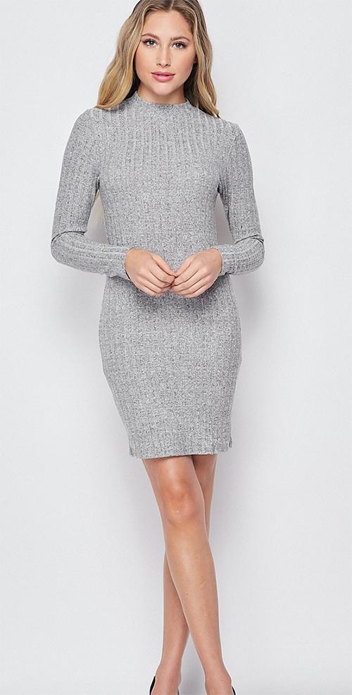 Cute cheap wide ribbed brushed hacci mocck neck dress