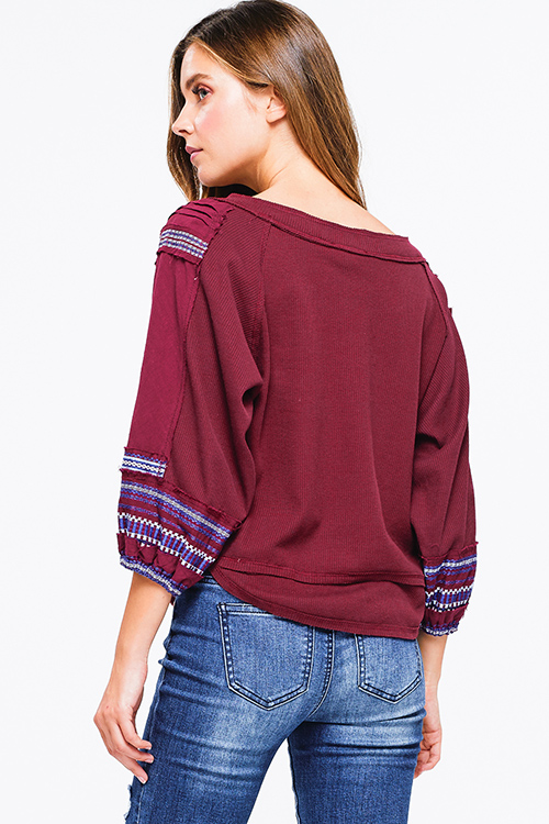 Cute cheap wine burgundy red cotton thermal quarter blouson sleeve v neck embroidered boho peasant top