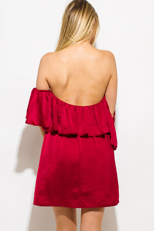 Cute cheap wine burgundy red crinkle satin tiered off shoulder boho mini sun dress
