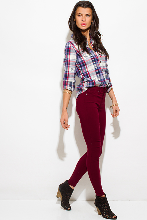 Cute cheap wine burgundy red denim mid rise fitted skinny jeans