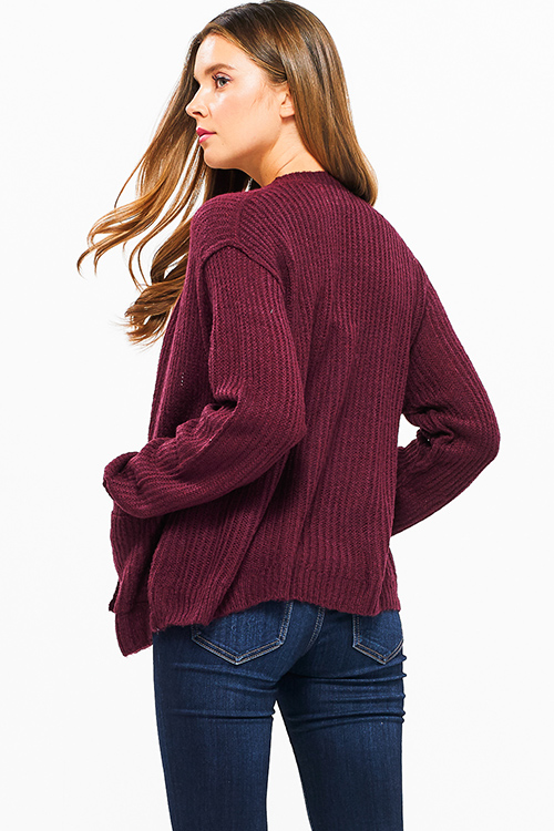 Cute cheap Wine burgundy red long sleeve exposed stitch pocketed open front sweater cardigan