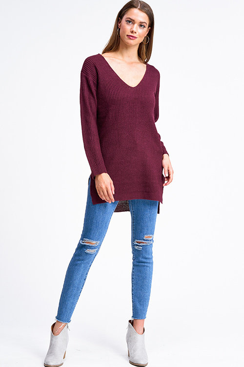 Cute cheap Wine burgundy red long sleeve v neck caged criss cross back tunic sweater top