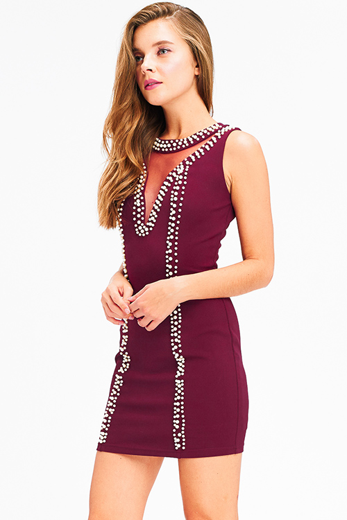 Cute cheap Wine burgundy red pearl studded mesh cut out sleeveless bodycon fitted club mini dress