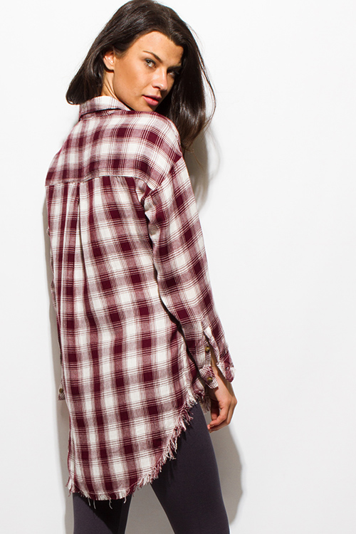Cute cheap wine burgundy red plaid print flannel long sleeve frayed hem button up blouse tunic top