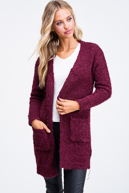 Cute cheap Wine burgundy red popcorn knit long sleeve open front pocketed boho fuzzy sweater cardigan