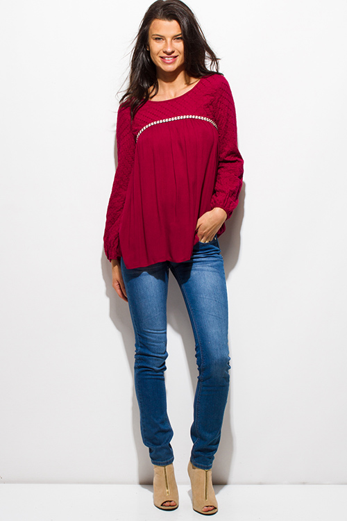 Cute cheap wine burgundy red quilted long blouson sleeve boho peasant blouse top