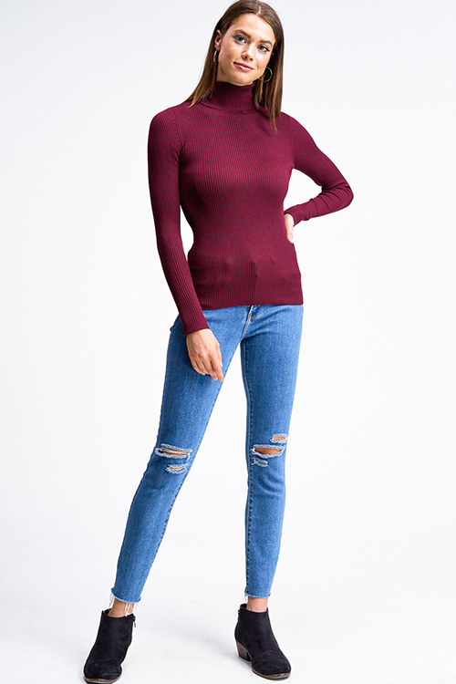 Cute cheap Wine burgundy red ribbed knit long sleeve turtle neck fitted sweater top