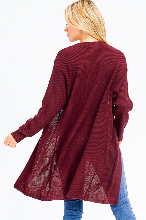 Cute cheap wine burgundy red ribbed sweater knit long sleeve open front boho duster cardigan