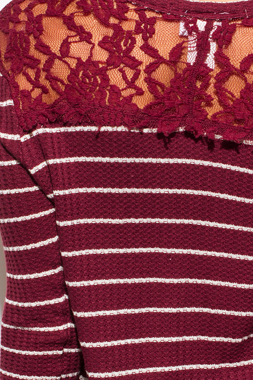 Cute cheap wine burgundy red striped long sleeve sheer lace contrast thermal knit tunic top