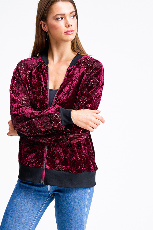 Cute cheap Wine burgundy red velvet sequined long sleeve zip up boho bomber jacket