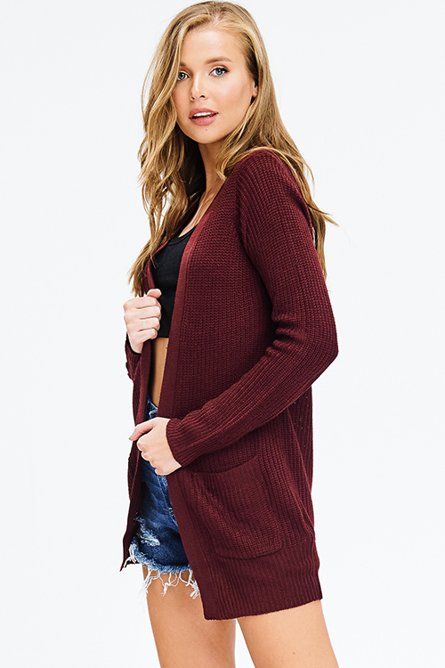 Cute cheap wine burgundy red waffle knit long sleeve open front pocketed boho sweater cardigan plus size