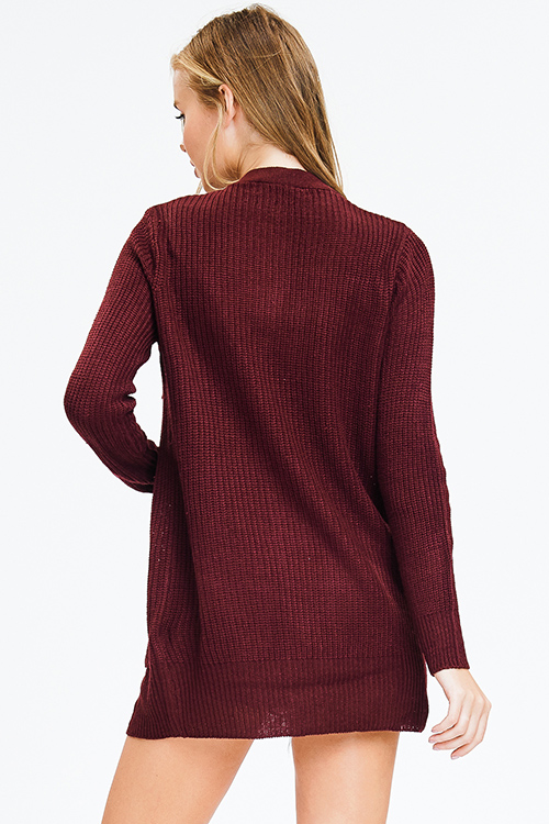 Cute cheap wine burgundy red waffle knit long sleeve open front pocketed boho sweater cardigan