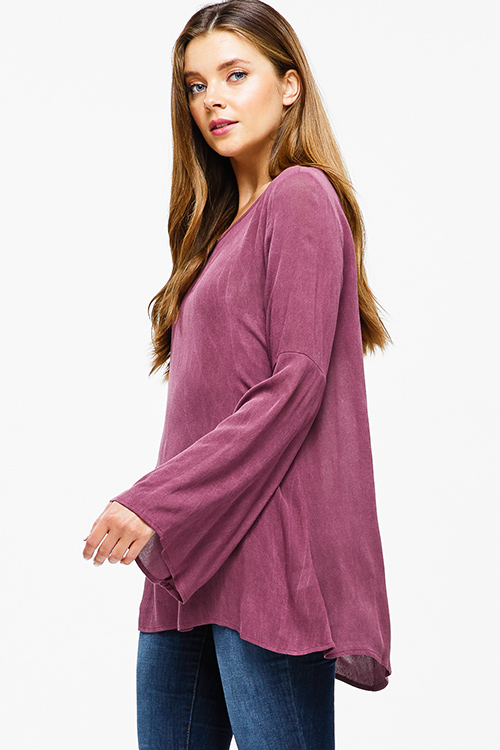 Cute cheap Wine maroon pink long trumpet bell sleeve cut out caged back boho top