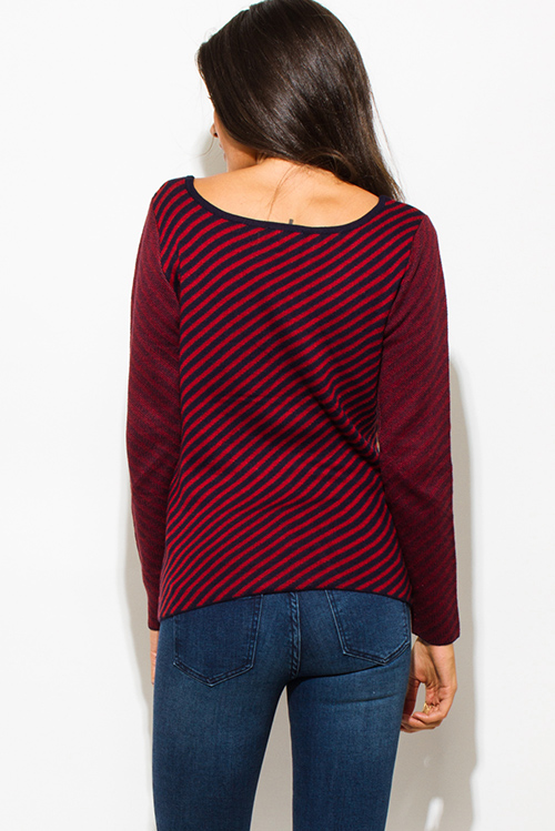 Cute cheap wine red navy blue fuzzy striped boat neck long sleeve sweater knit top