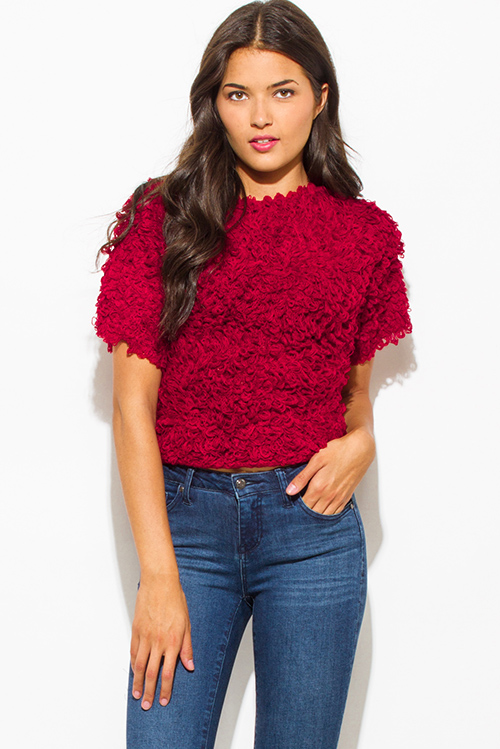 Cute cheap wine red textured boat neck wide short sleeve sweater knit crop blouse top