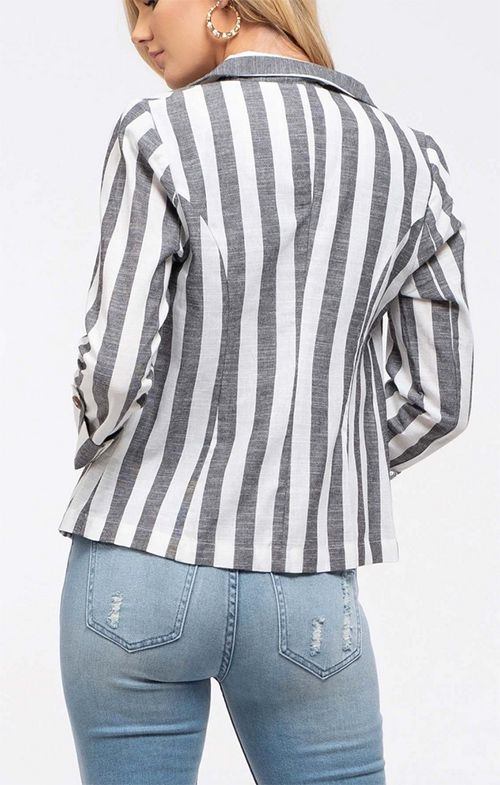 Cute cheap woven striped blazer