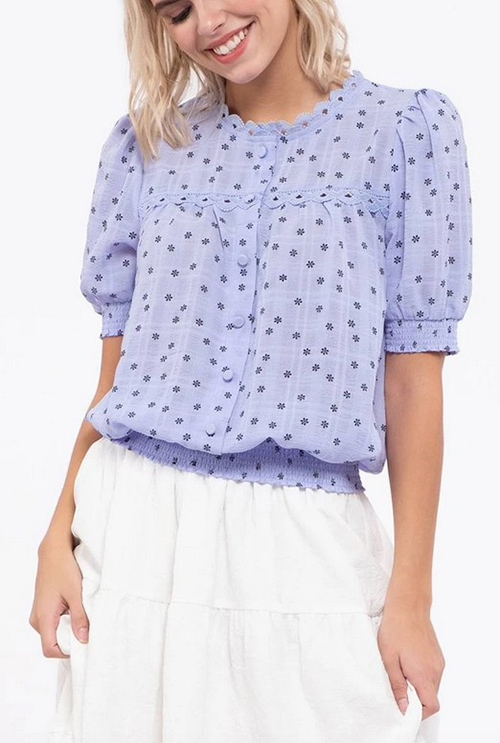 Cute cheap wrinkle effect floral print woven top